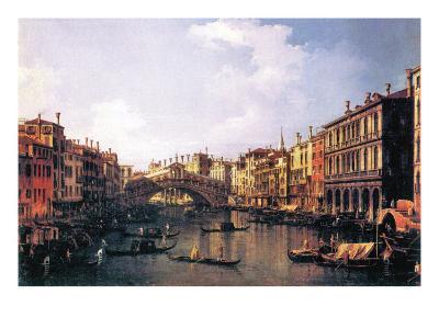 The Rialto Bridge-Canaletto-Art Print
