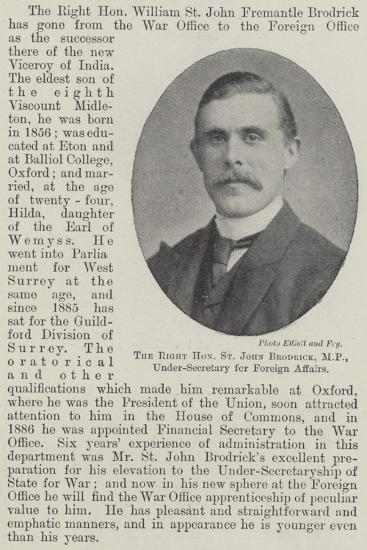 The Right Honourable St John Brodrick, Mp, Under-Secretary for Foreign Affairs--Giclee Print