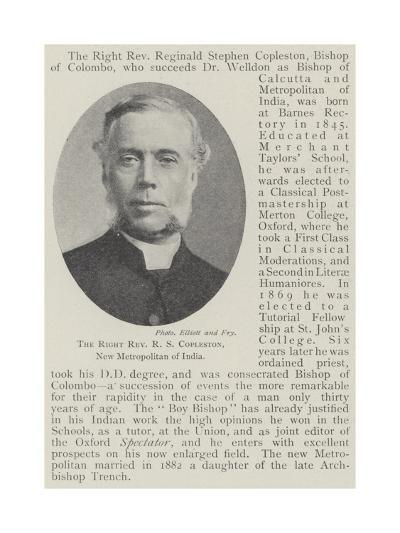 The Right Reverend R S Copleston, New Metropolitan of India--Giclee Print