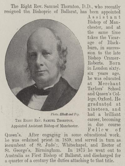 The Right Reverend Samuel Thornton, Appointed Assistant Bishop of Manchester--Giclee Print