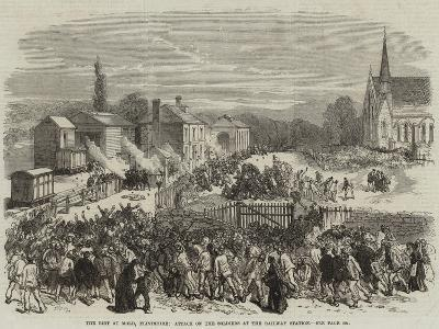 The Riot at Mold, Flintshire, Attack on the Soldiers at the Railway Station--Giclee Print