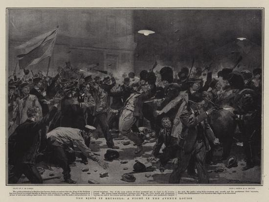 The Riots in Brussels, a Fight in the Avenue Louise-Frederic De Haenen-Giclee Print