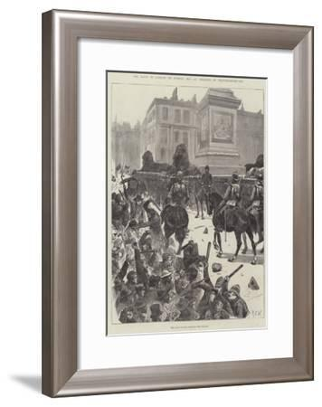 The Riots in London on Sunday, 13 November, Defence of Trafalgar-Square-Richard Caton Woodville II-Framed Giclee Print