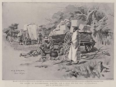 The Rising in Matabeleland, Halting for a Meal on the Way to Buluwayo-Charles Edwin Fripp-Giclee Print