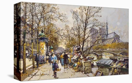The Rive Gauche, Paris with Notre Dame beyond-Eugene Galien-Laloue-Stretched Canvas Print