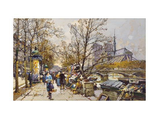 The Rive Gauche, Paris with Notre Dame beyond-Eugene Galien-Laloue-Premium Giclee Print