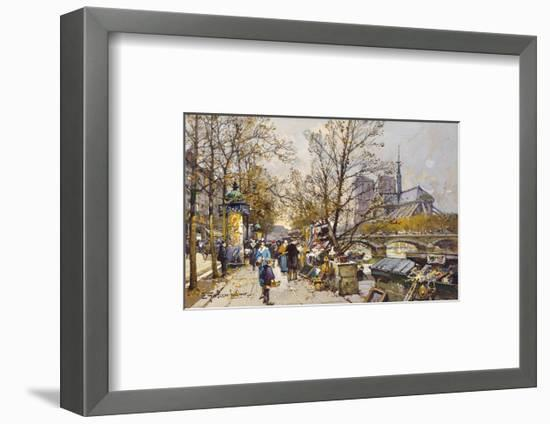 The Rive Gauche, Paris with Notre Dame beyond-Eugene Galien-Laloue-Framed Premium Giclee Print
