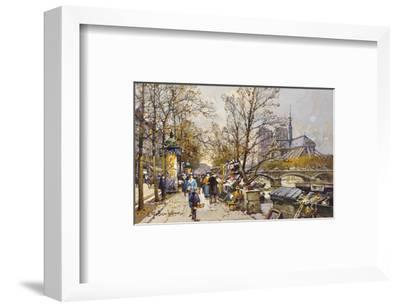 The Rive Gauche, Paris with Notre Dame beyond-Eugene Galien-Laloue-Framed Premium Giclee Print