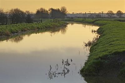 The River Brue Flowing Through Countryside on the Somerset Levels, Near Glastonbury-Nigel Hicks-Photographic Print