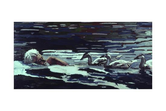 The River:Conrad Lorenz with Goslings, 1982-Peter Wilson-Giclee Print