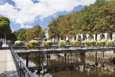 The River Odet and a Flower Decorated Bridge, Quimper, Finistere, Brittany, France, Europe-Markus Lange-Photographic Print