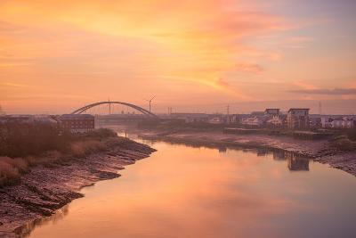 The River Usk as it Flows Through Newport City Towards the Severn Estuary-Chris Godfrey-Photographic Print