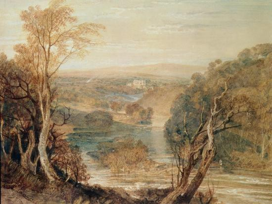 The River Wharfe with a Distant View of Barden Tower-J^ M^ W^ Turner-Giclee Print