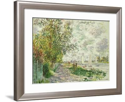 The Riverbank at Gennevilliers, circa 1875-Claude Monet-Framed Giclee Print