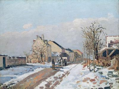 The Road from Gisors to Pontoise, Snow Effect, 1872-Camille Pissarro-Giclee Print
