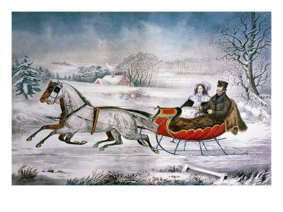The Road-Winter, 1853-Currier & Ives-Giclee Print