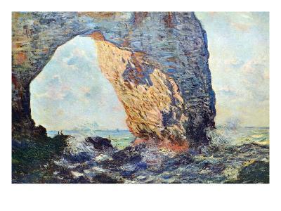 The Rocky Cliffs of ?tretat (La Porte Man) [1]-Claude Monet-Art Print