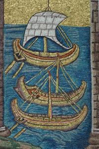 The Roman Galleys. Mosaic from Ravenna, Copy