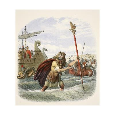 The Roman Standard Bearer of the Tenth Legion Landing in Britain-James William Edmund Doyle-Giclee Print