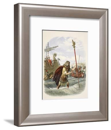 The Roman Standard Bearer of the Tenth Legion Landing in Britain-James William Edmund Doyle-Framed Giclee Print