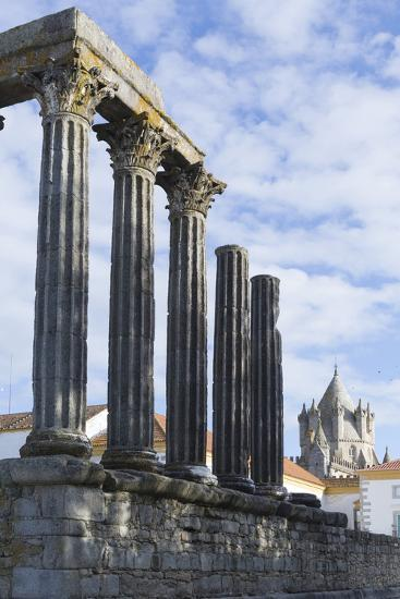 The Roman Temple of Diana and the Tower of Evora Cathedral-Alex Robinson-Photographic Print