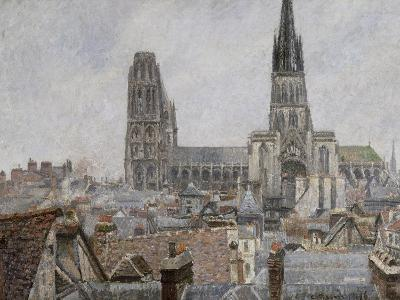 The Roofs of Old Rouen, Grey Weather, 1896 Cathedral-Camille Pissarro-Giclee Print