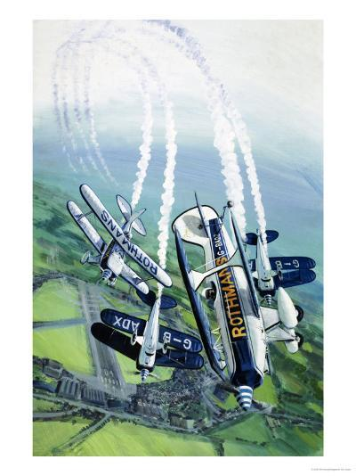 The Rothmans Aerobatics Team Flying in Their Stampe SV4B Biplanes-Wilf Hardy-Giclee Print