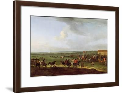 The Round Course at Newmarket, Preparing for the King's Plate, c.1725-Peter Tillemans-Framed Giclee Print