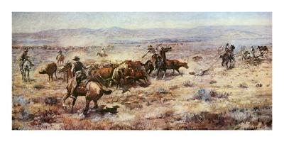 The Round-Up-Charles Marion Russell-Art Print