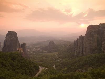 The Roussanou Monastery on One of the Meteora Peaks and the Valley-Richard Nowitz-Photographic Print