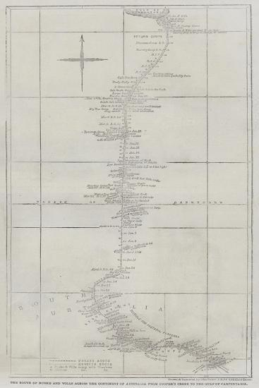 The Route of Burke and Wills across the Continent of Australia from Cooper's Creek to the Gulf of C-John Dower-Giclee Print