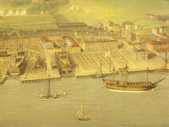 The Royal Dockyard at Woolwich, Near London, 1790-Nicholas Pocock-Giclee Print