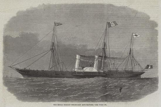 The Royal Italian Steam-Ship Esploratore-Edwin Weedon-Giclee Print