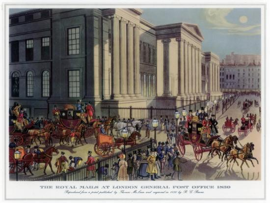 The Royal Mails at London General Post Office, 1830-R Reeves-Giclee Print