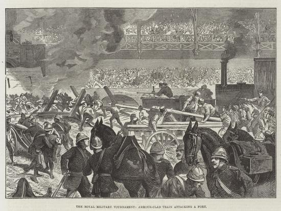 The Royal Military Tournament, Armour-Clad Train Attacking a Fort--Giclee Print
