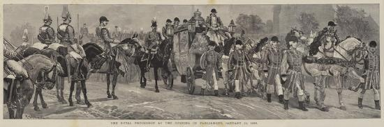 The Royal Procession at the Opening of Parliament, 21 January 1886-Richard Caton Woodville II-Giclee Print