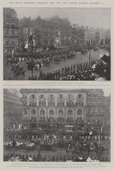 The Royal Progress Through the City and South London, 25 October--Giclee Print