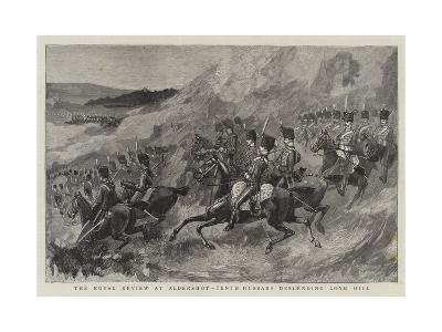 The Royal Review at Aldershot, Tenth Hussars Descending Long Hill--Giclee Print