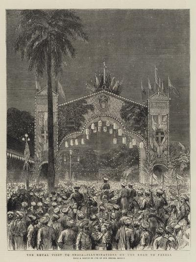 The Royal Visit to India, Illuminations on the Road to Parell--Giclee Print