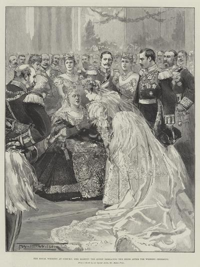 The Royal Wedding at Coburg, Her Majesty the Queen Embracing the Bride after the Wedding Ceremony-Thomas Walter Wilson-Giclee Print