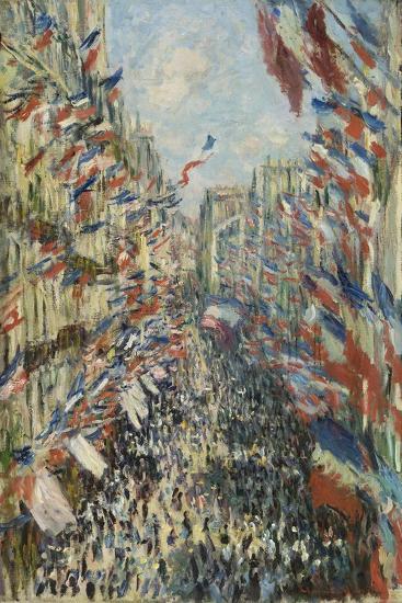 The Rue Montorgueil in Paris, Celebration of June 30, 1878, 1878-Claude Monet-Giclee Print