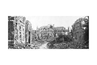 The Ruined Town and Church Bell Tower of Albert, Somme, France, August 1918--Giclee Print