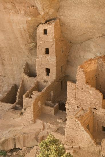 The Ruins of a Cliff Dwelling, Square Tower House, in Mesa Verde National Park-Phil Schermeister-Photographic Print