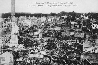 The Ruins of Sermaize-Les-Bains, France, Battle of the Marne, World War I, 1914--Giclee Print