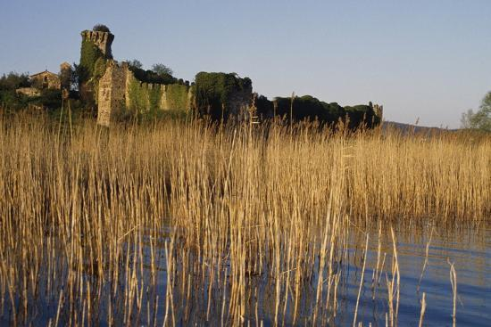 The Ruins of the Medieval Castle on Polvese Island, Lake Trasimeno, Umbria, Italy--Photographic Print