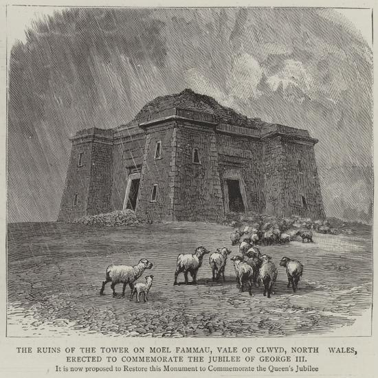 The Ruins of the Tower on Moel Fammau--Giclee Print
