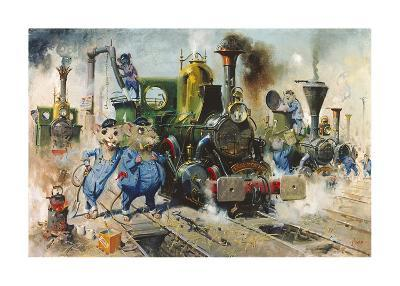 The Running Sheds of the Great Caerphilly and Vole-Tail Central Railway-Terence Cuneo-Premium Giclee Print