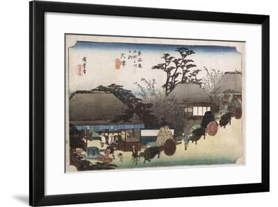 The Running Well Teahouse, Otsu', from the Series 'The Fifty-Three Stations of the Tokaido'-Utagawa Hiroshige-Framed Giclee Print