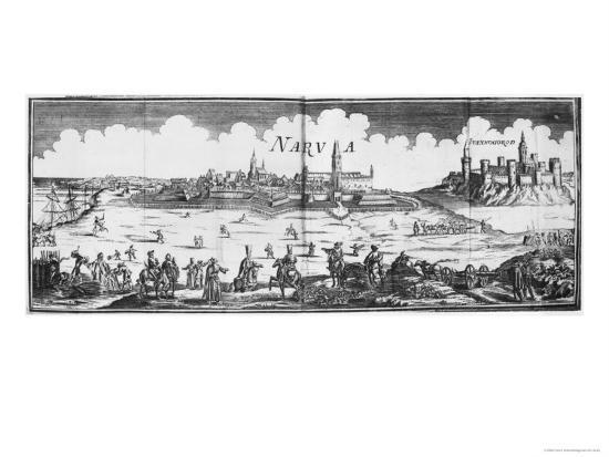 The Russian Army Besieging Narva in 1700--Giclee Print