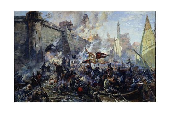 The Russian Army Capturing Narva on May 11, 1558, 1956-Alexander Alexandrovich Blinkov-Giclee Print